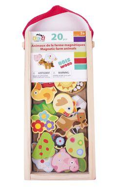 Animaux de la ferme magnétiques - 20 animaux magnétiques en bois Age : 3 ans et plus -  Référence : 10560 #Jeux #jouets #Enfant #Cadeau #Voyage #Vacances #famille