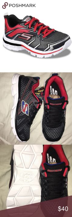 Boys Skechers nitrate ultra blast Actually product pictures in last three pictures  Red blue black and white colors.   Mesh and synthetic upper Lace-up closure Mesh lining  Gel-infused memory foam insole Rubber sole Skechers Shoes Sneakers