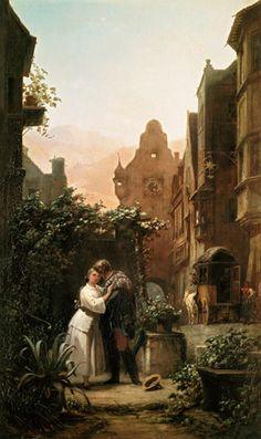 Spitzweg, Carl Abschied (Goodbye), c 1855 Painted Cottage, Cottage Art, University Of Vienna, Carl Spitzweg, The Kissing Hand, Antique Paint, Lovers Art, Cuddling, Illustration
