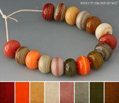 CASTANHO, LARANJA, BEGE, VERDE SECO - Art Bead Scene Blog: Art Bead Palette :: Indian Creek Art Glass