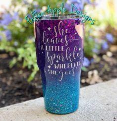 The Mermaid - Purple to Turquoise Glitter Ombre Personalized Yeti Tumbler - Mermaid YETI - Birthday Vinyl Tumblers, Personalized Tumblers, Custom Tumblers, Acrylic Tumblers, Glitter Tumblers, Cup Crafts, Diy Resin Crafts, Vinyl Crafts, Mermaid Cup