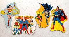 Vintage Super Friends Decorative Cutouts Superman Batman Wonder Women Comics 70s #amscan