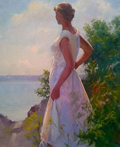 On the Promontory by Dennis Perrin Oil ~ 24 x 20 Dress Painting, Figure Painting, Wedding Dress Illustrations, Art Themes, Chiaroscuro, Painting Techniques, Female Art, Art Images, Cool Art