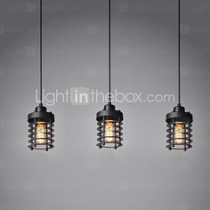 Vintage Design Pendant Light 3 Light Metal Black Painting - USD $119.99