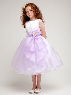White/Lilac Layered Organza Ruffle Skirt Flower Girl Dress (Sizes Infant-12 in 3 Colors)