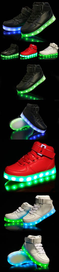 New 2016 Design High-top Kids Sneakers LED Luminous USB Rechargeable Boys Sports Shoes Hot Girls Colorful Flashing Lights Shoe