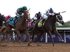 Stopchargingmaria held off Stellar Wind and withstood a review by the stewards to score a close victory in the $2 million Longines Breeders' Cup Distaff (gr. I) Friday at Keeneland.