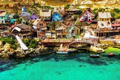 Popeye Village, is a group of rustic and ramshackle wooden buildings located at Anchor Bay in the north-west corner of the Mediterranean island of Malta. Photo by: Mosin