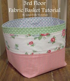 3rd Floor Fabric Basket Tutorial // by Kristy Daum of St. Louis Folk Victorian…