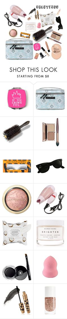 """""""Beauty2Go"""" by icyhot ❤ liked on Polyvore featuring beauty, Petunia Pickle Bottom, Oribe, Ray-Ban, Max Factor, Sephora Collection, Herbivore and Chanel"""
