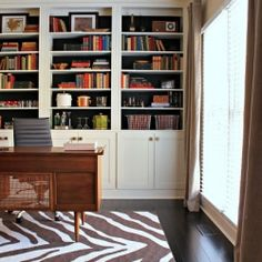 Floor to ceiling built-in bookcases