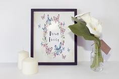 Dream Freely,Watercolor Butterfly Wreath Wall Decor,Floral Nursery Decor,Instant Download,Butterfly Print Art,Life Quote,Typography Print by InspirationsByJason on Etsy