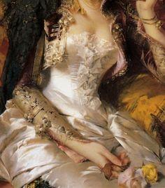Señorita with a fan (detail) Conrad Kiesel Classic Paintings, Old Paintings, Kiesel, Classical Art, Detail Art, Renaissance Art, Historical Costume, Old Art, Ancient Art