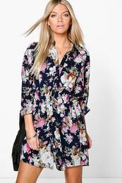 Lilith Floral Print Shirt Dress