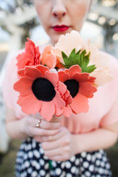 Four felt flower arrangement by TheFeltFlowerShop on Etsy