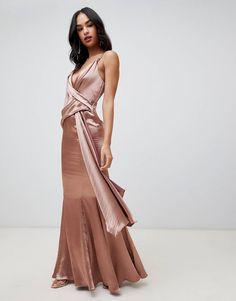 68cc8c54ac6d5 DESIGN maxi dress in high shine satin with drape side and fishtail hem