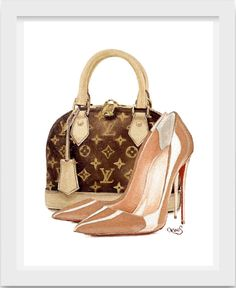 Designer Fashion Illustrstion Louis Vuitton Alma by LauraFungArt