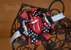 Rolling Stones hair bow https://www.etsy.com/listing/264424579/rolling-stones-boutique-hair-bow-or