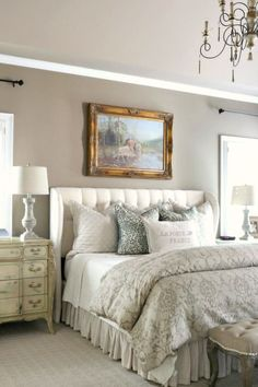 Savvy Southern Style: Leopard, Cows and Tufting...oh my! French country style, bedroom, tufted upholstered headboard, Restoration Hardware, Pottery Barn, bedding, Alexandria Beige by Benjamin Moore