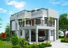 Home design plan with 5 Bedrooms.House description:One Car Parking and gardenGround Level: Living room, One Bedroom, Dining room, Kitchen Two Story House Plans, My House Plans, Modern House Plans, Modern Houses, Duplex House Design, Modern House Design, One Storey House, Plans Architecture, Architecture Design