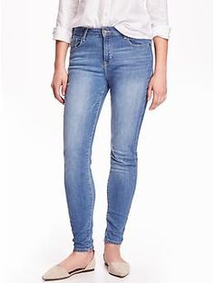 Mid-Rise Rockstar Brushed-Interior Skinny Jeans | Old Navy