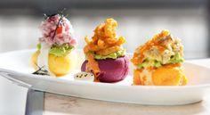 Peruvian causa trio - whipped potatoes topped with avocado and seafood - Chicha, Hong Kong