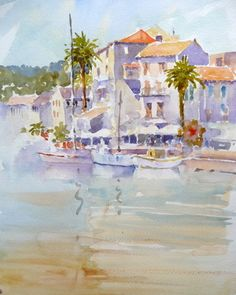 Watercolour Demonstration in Corsica. Joanne Boon Thomas