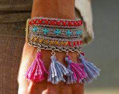 Fabric Jewelry, Boho Jewelry, Jewelery, Handmade Jewelry, Bracelet Crochet, Tassel Bracelet, Beaded Bracelets, Beau Crochet, Crochet Patron