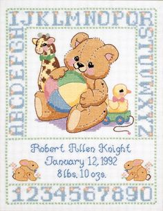 ... free printable | Janlynn Stamped Cross Stitch Kit, Bear Birth Sampler