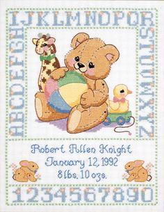 cross stitch patterns free printable | Janlynn Stamped Cross Stitch Kit, Bear Birth Sampler