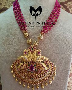 Antique Ruby Mala From Ms Pink Panther ~ South India Jewels Pearl Necklace Designs, Beaded Jewelry Designs, Jewelry Design Earrings, Gold Jewellery Design, Bead Jewellery, Jewelry Patterns, Gold Jewelry, Jewellery Making, Jewelry Trends