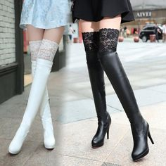 Size is for Foot B(M) US D(M) US Men = EU size 35 = Shoes length Fit foot length 225 Fashion lace sexy high knee high heel boots Lace Knee High Boots, Knee High Heels, Hot High Heels, Ankle Boots, White High Heel Boots, High Shoes, Kawaii Shoes, Kawaii Clothes, High Heel Stiefel