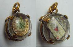 """Pendentif ancien - """" trefle à 4 feuilles et carré d'As"""" - porte bonheur   eBay, sold for EUR 43,50"""