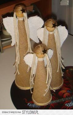 Christmas Mood, Christmas Angels, Burlap Crafts, Diy And Crafts, Angel Crafts, Nativity Crafts, Christmas Decorations, Christmas Ornaments, Craft Gifts