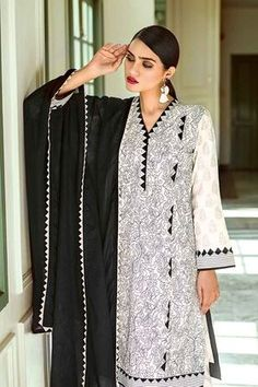 Welcome to Gul Ahmed Shop! COD Available in Pakistan. Simple Pakistani Dresses, Pakistani Fashion Casual, Pakistani Dress Design, Neck Designs For Suits, Sleeves Designs For Dresses, Dress Neck Designs, Stylish Dresses For Girls, Stylish Dress Designs, Stylish Dress Book