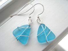 Aqua Sea Glass Earrings  Sea Glass Jewelry  by Sparkleandswirl, $15.00