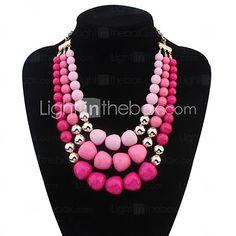 Women's Simply Layers Beads Personality Bib Statement Necklace - USD $10.99