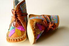 Baby boho - handmade leather beaded wool-lined moccasin winter boots with wool insole and crepe rubber sole via Etsy