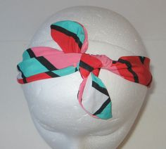 Tie Headband, Tie Knot Headband, Aqua, Coral Headband, Aqua Tied Knot Headband, Tied Headband, Girl's Headband, Headband, Baby Girl Headband
