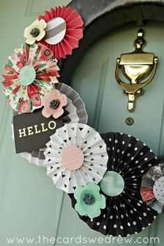 Hello Modern Front Door Wreath! Made with Paper Medallions from the Home+Made Line!