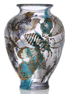 EMILE GALLÉ (1846-1904) LIBELLULES ET CIGALE VASE, CIRCA 1900 fluted glass internally decorated, carved and enamelled with gilt highlights 6½ in. (16.5 cm.) high engraved E. Gallé Nancy
