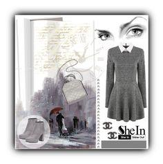 """Grey Long Sleeve Dress"" by vidrica ❤ liked on Polyvore featuring mode, Ren-Wil, Chanel en Prada"