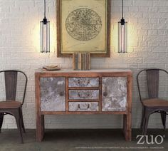 Zuo Modern 98341  Sartre Console Table Distressed  in Tin