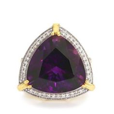 Moroccan Amethyst Ring with Diamond in 18k Gold 15.36cts