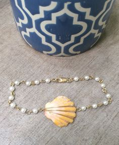 Hawaiian Sunrise Shell Beaded Pearl Bracelet by FlatteryDesigns