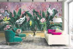 Elegent cranes in a green jungle scene with bursts of floral colours around and a pink sunset hue make up this fabulous wall mural. Available in 3 colours! #wallmurals #featurewall #animalwallpaper #birdwallpaper #mural #wallart #walldecorating Minimalist Wallpaper, Modern Wallpaper, Office Mural, Bedroom Office, Animal Wallpaper, Bird Wallpaper, Peel And Stick Vinyl, Leaf Flowers, Tropical Plants