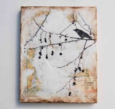 Blackbirds & Bumblebees: Map Encaustic Paintings, again do this with alcohol ink
