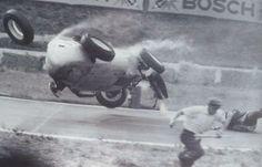 Hans Herrmann crash at German Grand Prix - 1959 Grand Prix, Old Vintage Cars, Vintage Race Car, Vintage Auto, Le Mans, Fiat Sport, F1 Crash, Motorcycle Types, Race Day