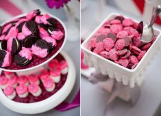 Love the pink dipped Oreos for a girl's party