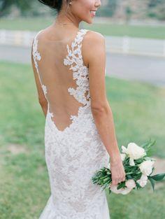 Backless lace Watters Wtoo wedding gown: http://www.stylemepretty.com/2016/05/27/red-boho-style-ranch-wedding/   Photography: Carmen Santorelli - http://carmensantorellistudio.com/